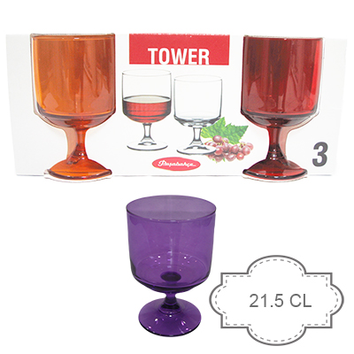 coffret 3 verres TOWER COLORES